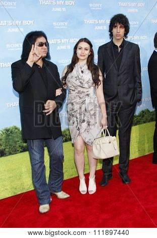 Gene Simmons, Sophie Simmons and Nick Simmons at the Los Angeles premiere of