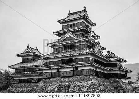 Masumoto Castle , Black In Japan Black And White