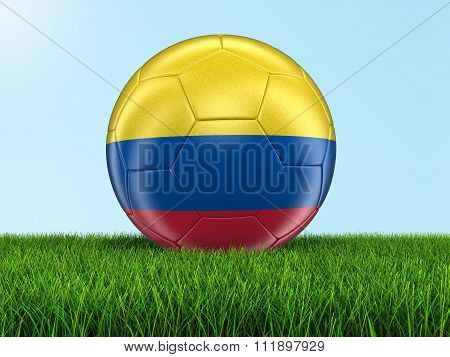 Soccer football with Colombian flag. Image with clipping path