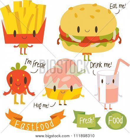 vector cartoon fastfood with inscriptions. Potato, hamburger, strawberry milk cocktail, ice-cream. banners, ribbons and logos around.
