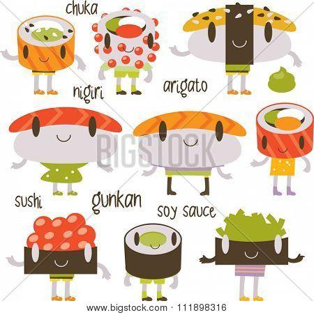 vector cartoon funny comic cute sushi set/ Gunkan, nigiri and rolls on a set. Labels or menu illustrations or labels.