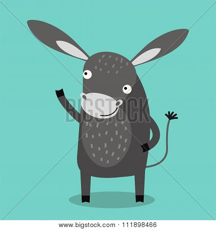 Cute cartoon donkey vector illustration
