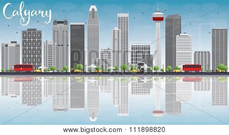 Calgary Skyline with Gray Buildings, Blue Sky and Reflections. Vector Illustration. Business travel and tourism concept with copy space. Image for presentation, banner, placard and web site.