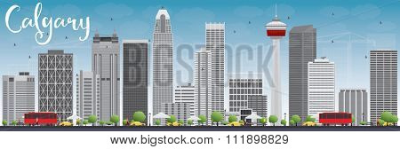 Calgary Skyline with Gray Buildings and Blue Sky. Vector Illustration. Business travel and tourism concept with modern buildings. Image for presentation, banner, placard and web site.