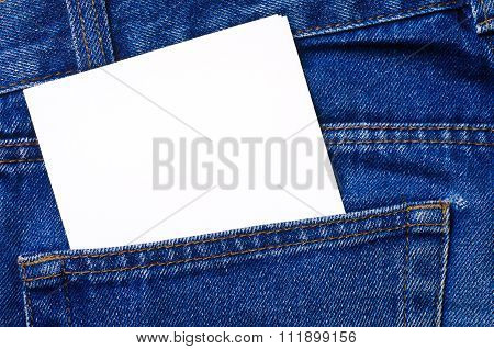 Note in jeans pocket