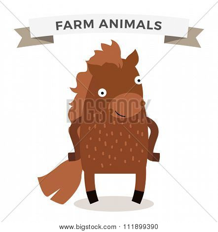 Cute cartoon horse vector illustration. Cartoon horse isolated on background. Horse, ride, farm animal. Vector horse farm animal. Cute horse vector illustration. Horse farm animal vector isolated
