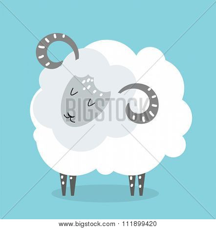Cute cartoon sheep vector illustration. Cartoon sheep isolated on blue background. Sheep, farm, pet animal. Vector sheep farm animal. Cute sheep vector illustration. Sheep vector isolated