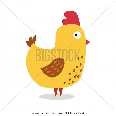 Cute cartoon chicken vector illustration. Cartoon chicken bird isolated on background. Chicken, bird, farm bird. Vector chicken farm animal. Cute chicken vector illustration. Chicken farm animal