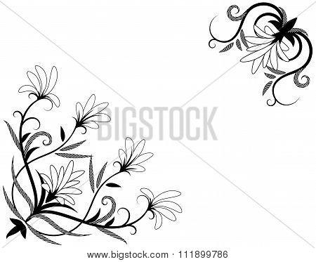 Floral Decorative Element For Corner Design