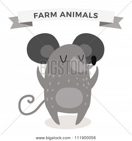 Cute cartoon mouse vector illustration
