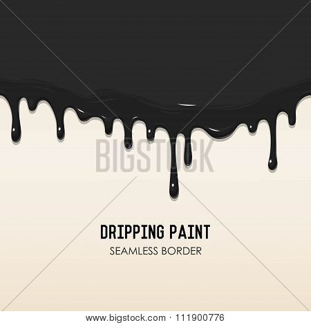 Dripping paint seamless border