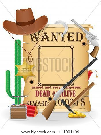 Cowboy Wild West Concept Icons Vector Illustration
