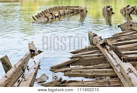 The old sunken barge