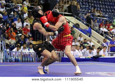 JAKARTA, INDONESIA - NOVEMBER 18, 2015: Jafar Tropraghlou of Iran (red) fights Ji Fu Xu of China (black) in the men's 65kg Sanda event at the 13th World Wushu Championship 2015.