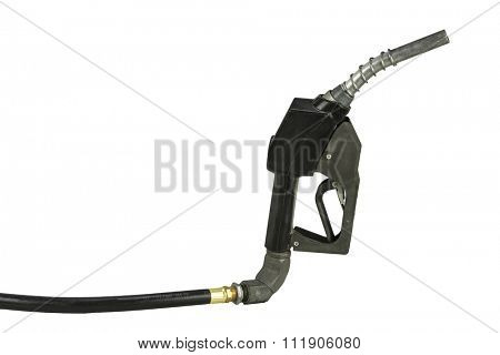 Gas hose nozzle isolated on white with copy space.