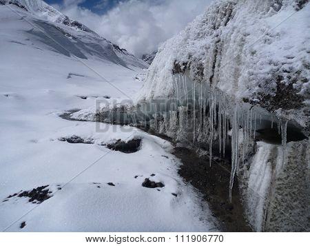 Icicles At The Himalayan Glacier