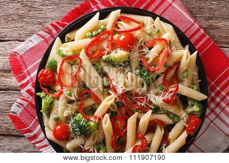 Italian Pasta With Vegetables Close-up On A Plate. Horizontal Top View