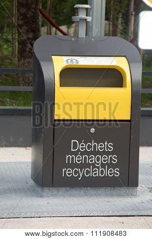 Recycling And Garbage Bins In French In The Street
