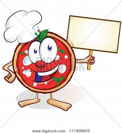 Fun Pizza Cartoon With  Signboard