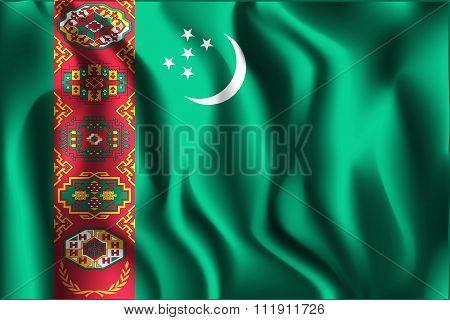 Flag Of Turkmenistan. Rectangular Shape Icon