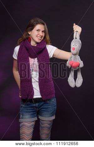 Ukrainian girl with toy hare