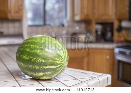 Watermelon on a Countertop in a Home Kitchen
