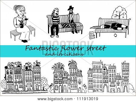 beautiful houses in the style of doodle and their tenants  set of character comic vector illustratio