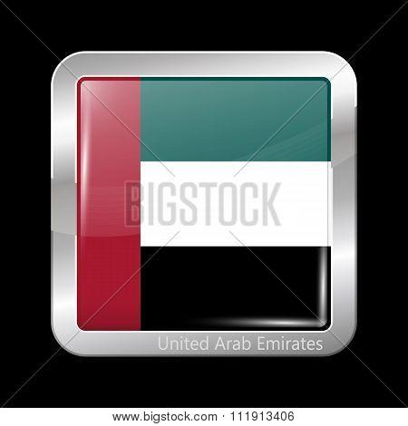 Flag Of United Arab Emirates. Metallic Icon Square Shape