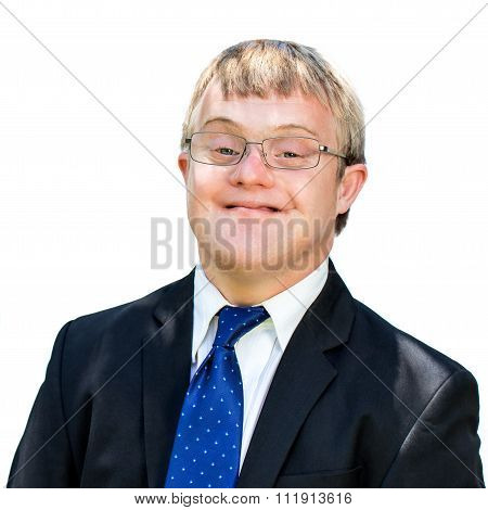 Portrait Of Friendly Man With Down Syndrome Wearing Suit.