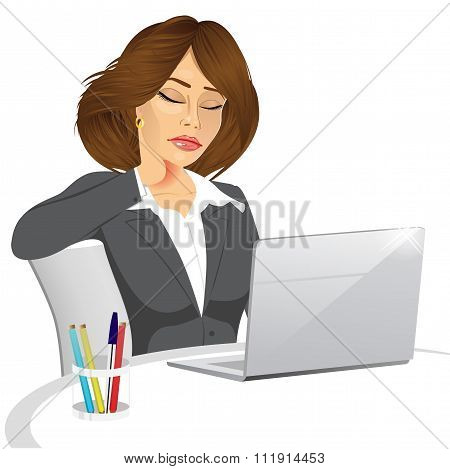 female office worker suffering neck pain