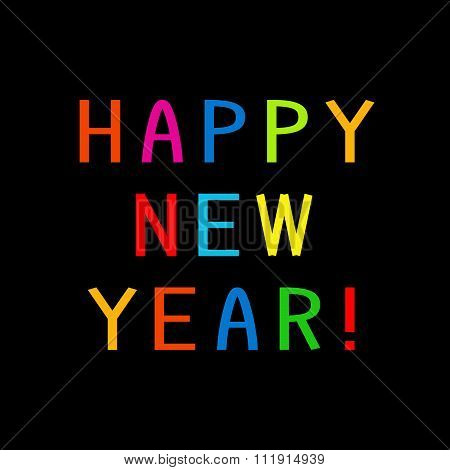 Happy New Year With Multicolored Letters
