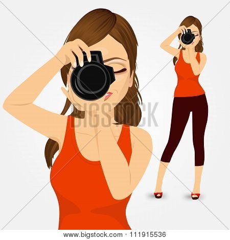 young photographer woman taking photos