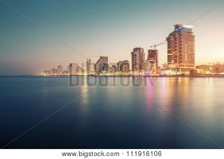 City of Tel Aviv at sunrise, Israel. Focus on the center.