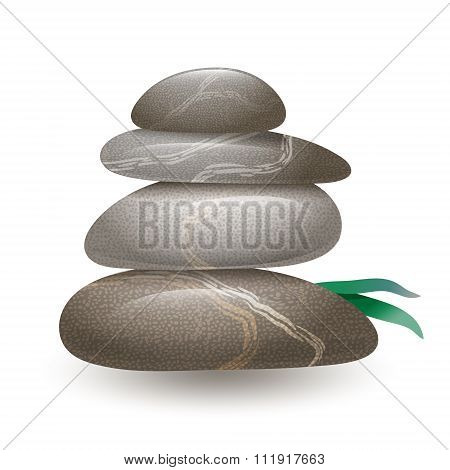 Stacked stones on wight background.