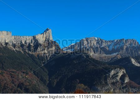 Grand massif of Alps in autumn