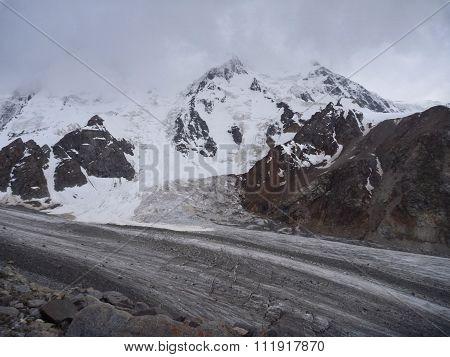 Glacier Valley With White Glacier