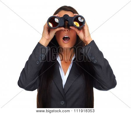 Business woman with binoculars. Isolated on white background.