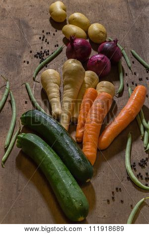 Vegetable Produce On A Wooden Table