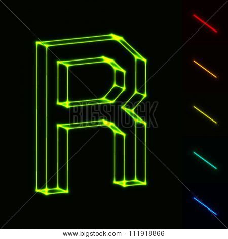 EPS10 vector glowing wireframe letter R - easy to change color