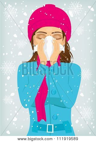 woman suffering influenza and runny nose