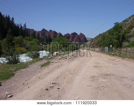 A Road To Jety Oguz Village In Kyrgyzstan