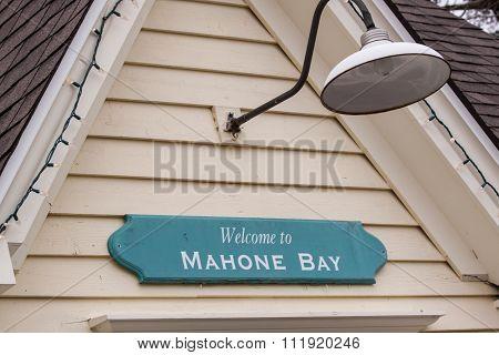 welcome sign, Mahone Bay,Nova Scotia