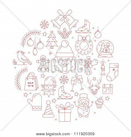 Unique vector concept with different christmas and new year celebration elements.