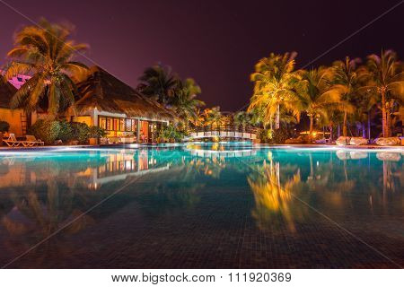 Swimming Pool In Hotel Resort At Night