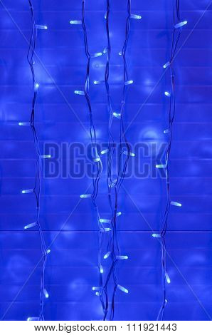Blue LED lights at night, Christmas decoration