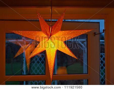 Golden Glittering Star Shaped Christmas Paper Ornament