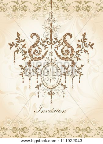 Vintage invitation card with ornate elegant retro abstract floral design, brown and gold flowers and leaves on beige background with chandelier and text label. Vector illustration.