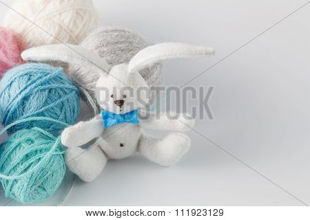 Handmade Felt Toy With Colored Wool Clew