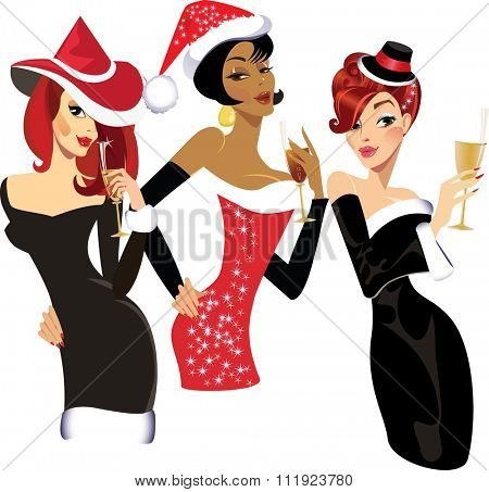 glamorous christmas girls with glasses of champagne