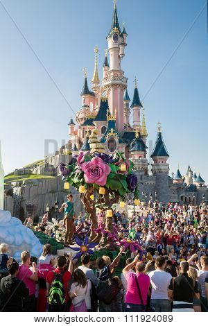 FRANCE, PARIS - 10 SEP, 2014: The Lair of the Dragon and famous castle in Disneyland.